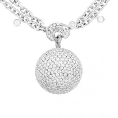 Sparkling 18K White Gold Bijoux Collier Boule Collection Diamond Necklace