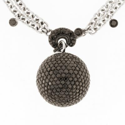 Sparkling 18K Blackened White Gold Bijoux Collier Boule Collection Diamond Necklace