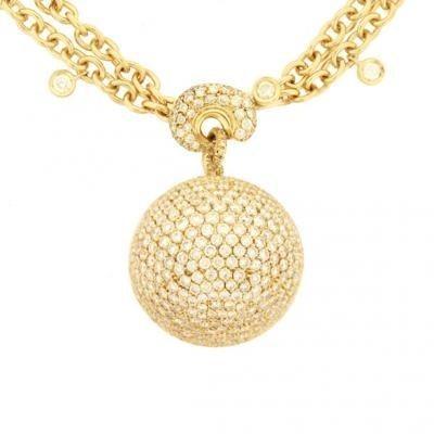 Sparkling 18K Yellow Gold Bijoux Collier Boule Collection Diamond Necklace