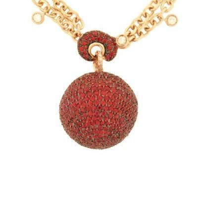 Stylish 18K Rose Gold Bijoux Collier Boule Collection Diamond and Sapphire Necklace