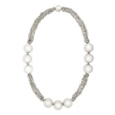 Modern 18K White Gold Bijoux Collier Boule Collection Necklace