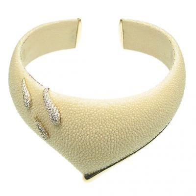 Striking 18K Yellow Gold Bijoux Collier Galuchat Diamond Necklace