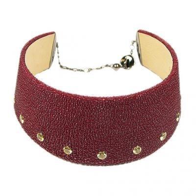 Chic 18K White Gold Bijoux Collier Galuchat Gemstone Necklace