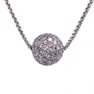 Modern 18K White Gold Bijoux Collier Bolle Diamond Necklace