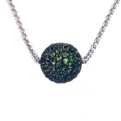 Modern 18K White Gold Bijoux Collier Bolle Gemstone Necklace