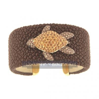 Charming 18K Yellow Gold Bijoux Galuchat Diamond and Gemstone Cuff Bracelet