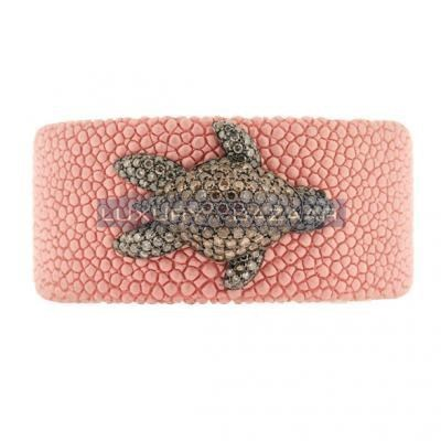 Stylish 18K Rose Gold Bijoux Galuchat Collection Diamond Cuff Bracelet