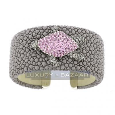 Delightful 18K White Gold Bijoux Galuchat Diamond and Gemstone Cuff Bracelet