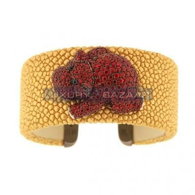 Stylish 18K Blackened White Gold Bijoux Galuchat Collection Sapphire Cuff Bracelet