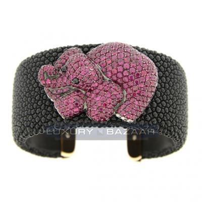 Chrismatic 18K White Gold Bijoux Galuchat Diamond and Gemstone Cuff Bracelet