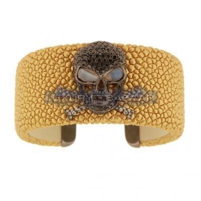Stylish 18K Blackened White Gold Bijoux Galuchat Collection Gemstone Cuff Bracelet