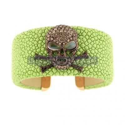 Stylish 18K Rose Gold Bijoux Galuchat Collection Gemstone Cuff Bracelet