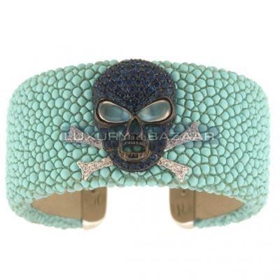 Stylish 18K White Gold Bijoux Galuchat Collection Gemstone Cuff Bracelet