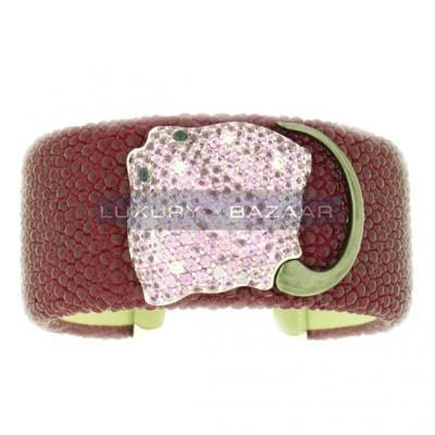 Stylish 18K White Gold Bijoux Galuchat Collection Gemstone Cuff Bracelet