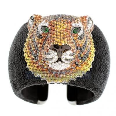 Bold and Beautiful 18K Blackened White Gold Bijoux Galuchat Diamond and Gemstone Cuff Bracelet