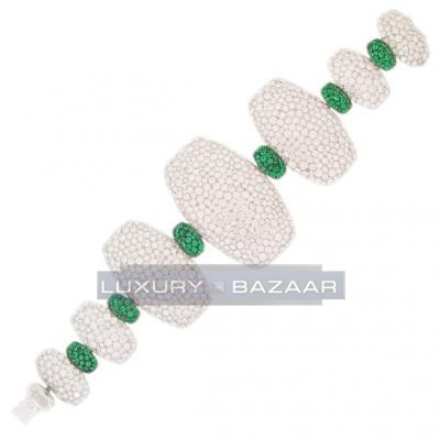 Contemporary 18K White Gold Bijoux Zucchero Diamond and Emerald Bracelet