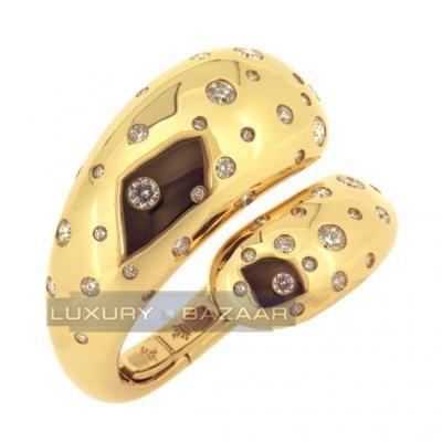 Trendy 18K Yellow Gold Spiral Bijoux Contrario Diamond Bracelet