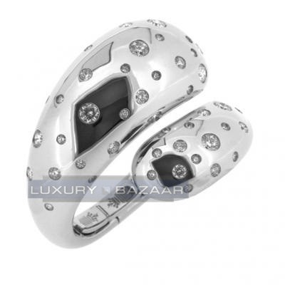Trendy 18K White Gold Spiral Bijoux Contrario Diamond Bracelet