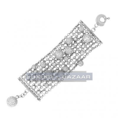 Chic 18K White Gold Interlinked Bijoux Boule Diamond Bracelet