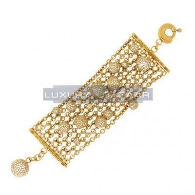 Gorgeous 18K Yellow Gold Bijoux Bole Collection Diamond Bracelet
