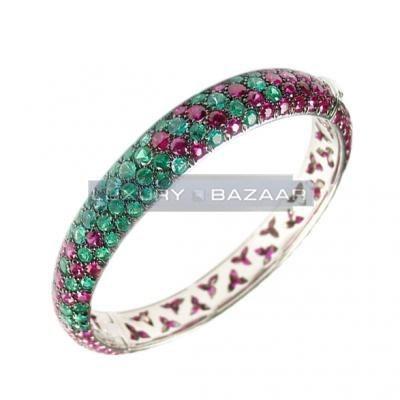 Amazing 18K White Gold Bijoux Rigide Collection Gemstone Bracelet