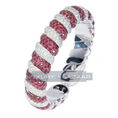 Classic 18K White Gold Bijoux Rigide Collection Diamond and Ruby Bracelet