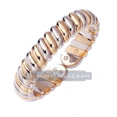 Classic Two-Tone 18K White and Yellow Gold Bijoux Rigide Collection Bracelet