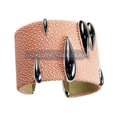 Modern 18K White Gold Bijoux Galuchat Collection Cuff Bracelet