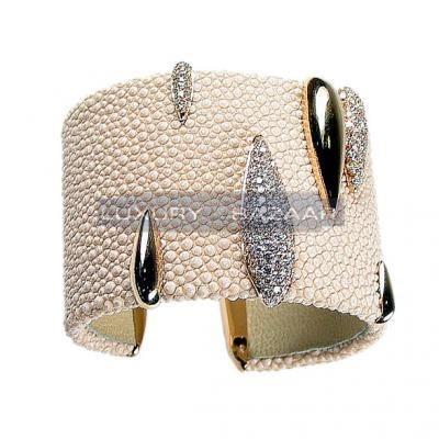 Modern 18K Rose Gold Bijoux Galuchat Collection Cuff Diamond Bracelet
