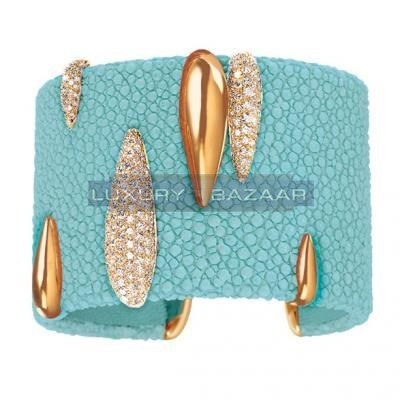 Modern 18K Yellow Gold Bijoux Galuchat Collection Cuff Diamond Bracelet