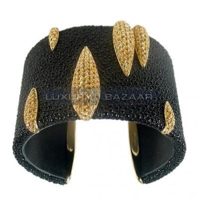 Modern 18K Yellow Gold Bijoux Galuchat Collection Sapphire Cuff Bracelet