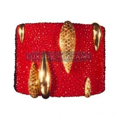Modern 18K Yellow Gold Bijoux Galuchat Collection Cuff Diamond Bracelet