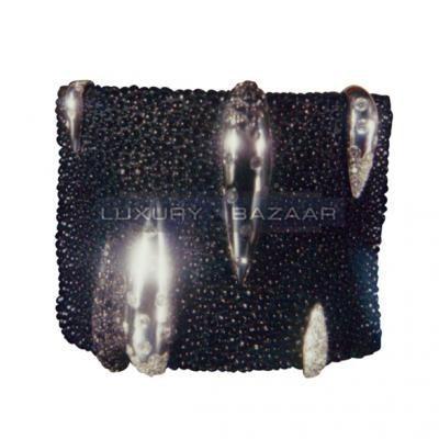 Modern 18K White Gold Bijoux Galuchat Collection Cuff Diamond and Sapphire Bracelet