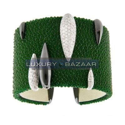 Modern 18K Blackened White Gold Bijoux Galuchat Collection Cuff Diamond Bracelet