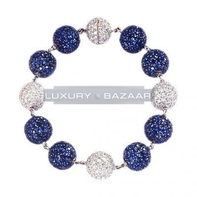 Chic 18K White Gold Bijoux Boule Collection Diamond and Sapphire Bracelet
