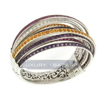Sleek 18K White Gold Bijoux Allegra Collection Diamond and Gemstone Bracelet