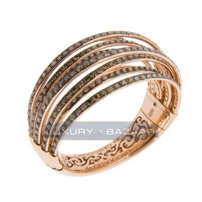 Trendy 18K Rose Gold Bijoux Allegra Collection Diamond Bangle Bracelet