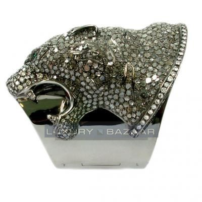 Furious 18K White Gold Bijoux Animaux Panther Collection Diamond Cuff Bracelet