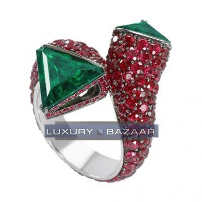 Unique 18K White Gold Bijoux Haute Joaillerie Collection Gemstone Ring