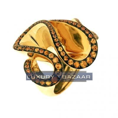 Eye Catching 18K Yellow Gold Bijoux Bague Zigana Collection Sapphire Ring