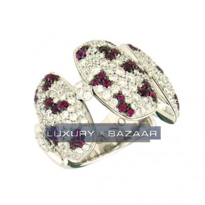 Stylish 18K White Gold Bijoux Bague Zuccero Collection Diamond and Ruby Ring