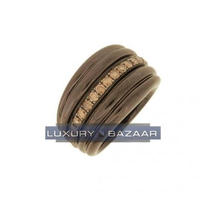 Trendy 18K Brownish Rose Gold Bijoux Bague Joaillerie Collection Diamond Ring