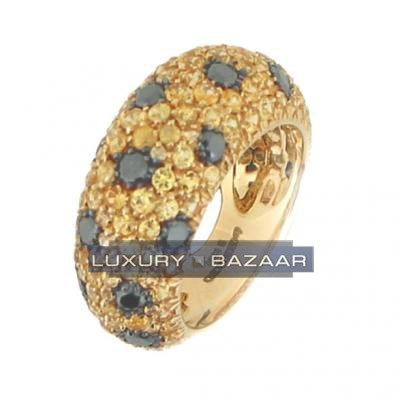 Stunning 18K Yellow Gold Bijoux Bague Poivre Et Sel Collection Diamond and Sapphire Ring