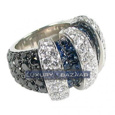 Mystifying 18K White Gold Bijoux Bague Mystere Collection Diamond and Sapphire Ring