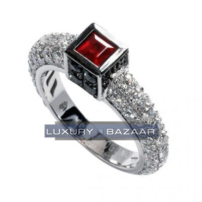 Alluring 18K White Gold Bijoux Bague Carre Collection Diamond and Ruby Ring