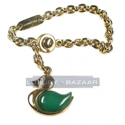 Adorable 18K Yellow Gold Bijoux Accessoire Animaux Collection Gemstone Key Ring