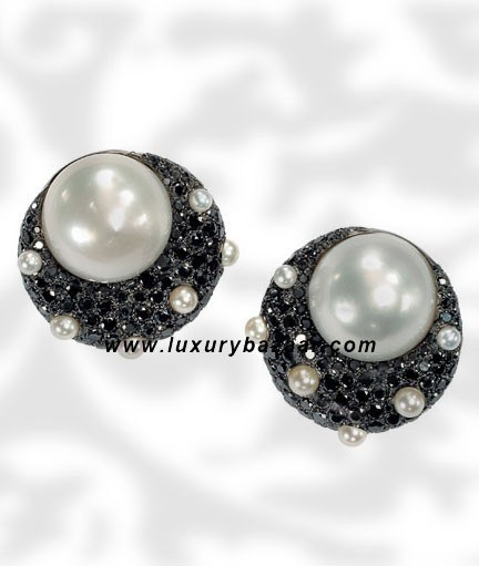 Black Diamond Pearl and Diamond White Gold Earrings