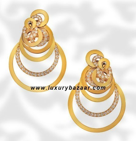 Circles Diamond Set Yellow Gold Earrings