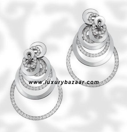 Circles Diamond Set White Gold Earrings