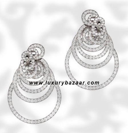 Circles Full Diamond Set White Gold Earrings